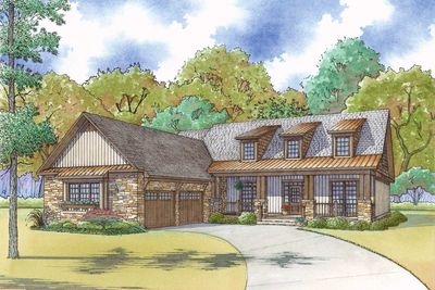 Craftsman House Plan With Courtyard Garage and Rustic Appeal ...