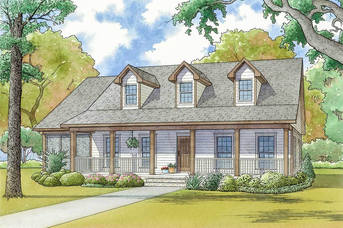 Two story house plan with large front porch 70568mk for Large two story house plans