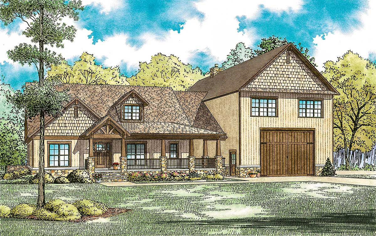 Country Home Plan With Rv Garage And Upstairs Apartment
