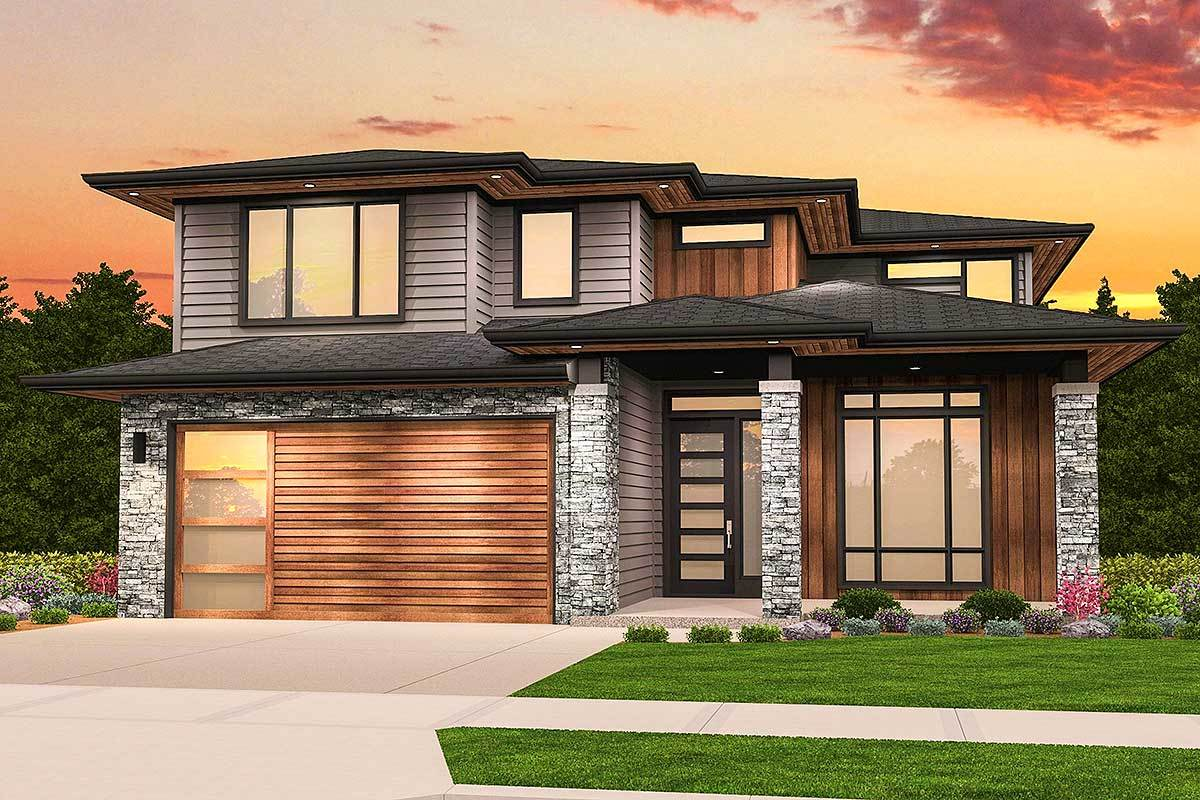 Two story prairie style house plan 85220ms for Prairie house plans designs