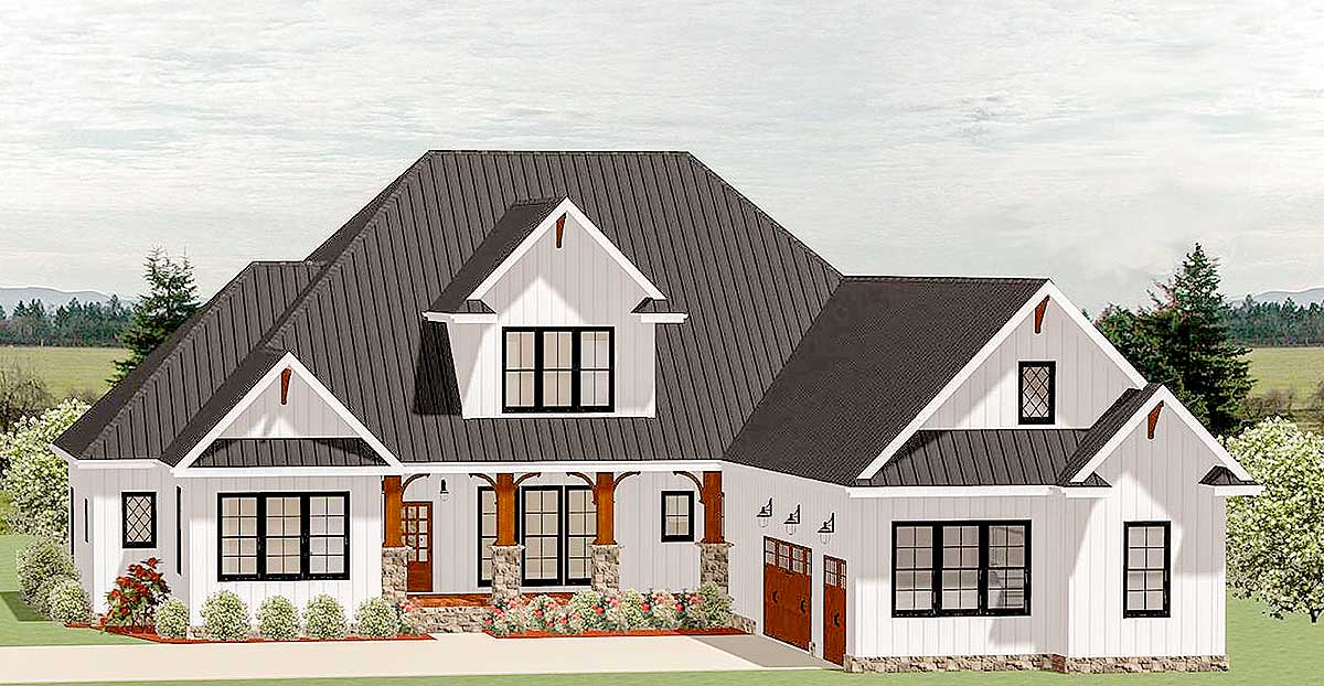 Country craftsman house plan with optional second floor for Country craftsman house plans