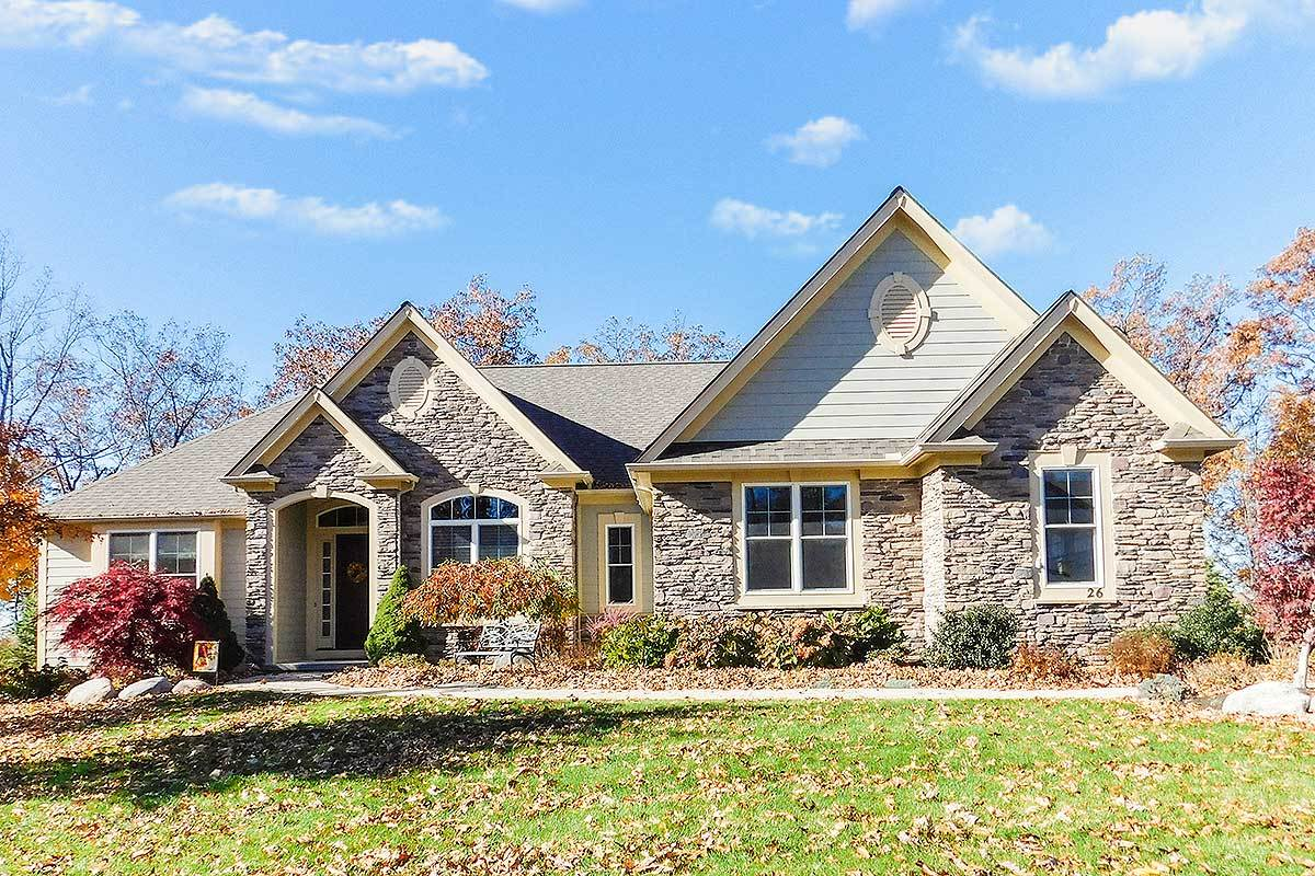 Lovely ranch house plan with stone accents 770006ced for Accent homes floor plans
