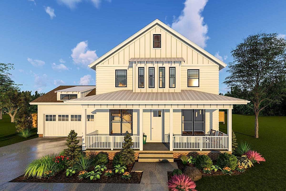 2 story modern farmhouse plan with front porch and rear for Farmhouse two story house plans