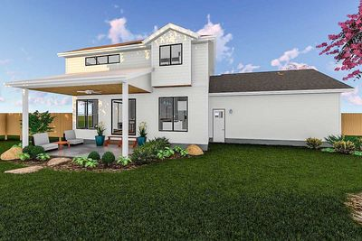 2 Story Modern Farmhouse Plan With Front Porch And Rear Covered Patio    62715DJ Thumb