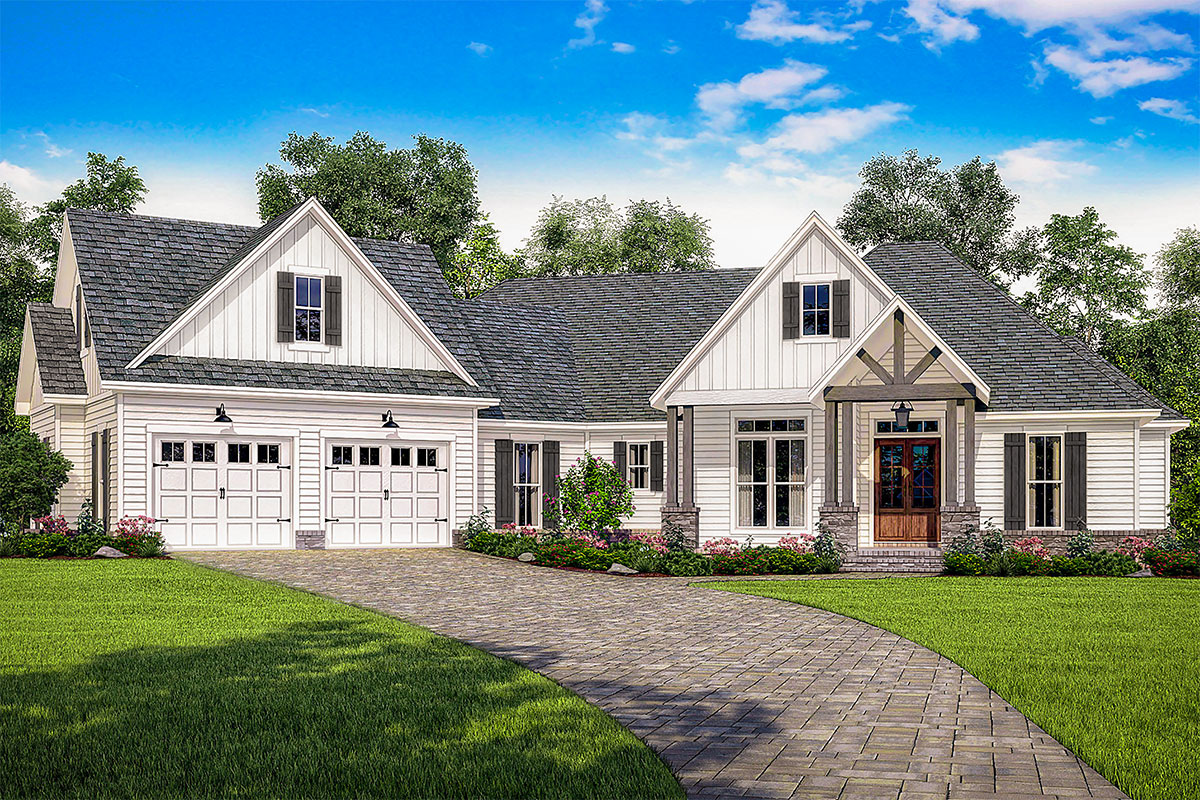 Contemporary farmhouse plan with bonus room over the for Garage plans with bonus room