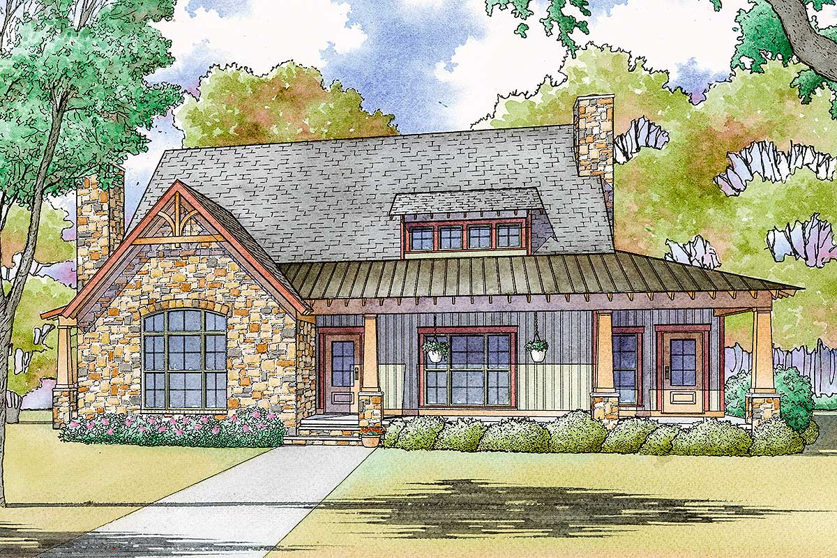 Rustic Country House Plan With Vaulted Master Suite