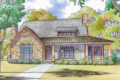 Delicieux Rustic Country House Plan With Vaulted Master Suite   70573MK Thumb   01