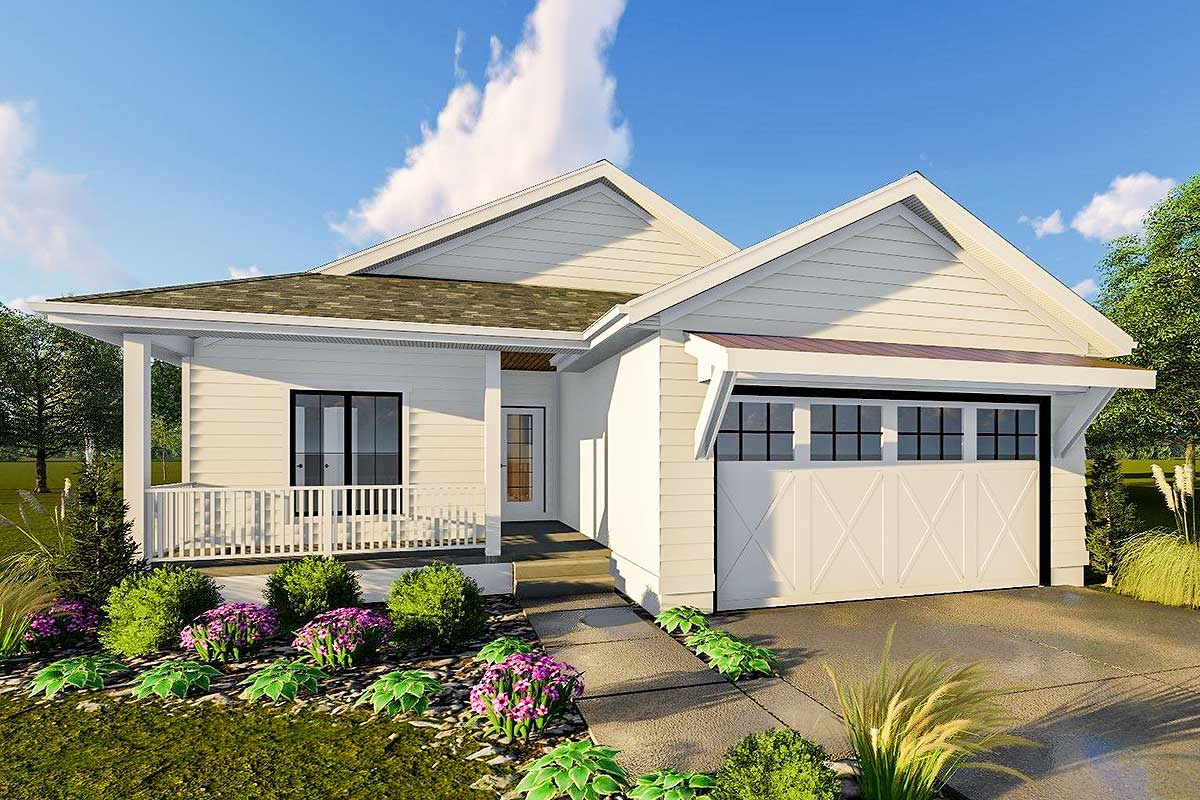 Modern farmhouse style ranch covered patio 62718dj for Patio homes plans