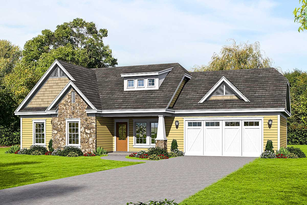 Craftsman Ranch Home Plan With Vaulted Interior - 68508VR ...