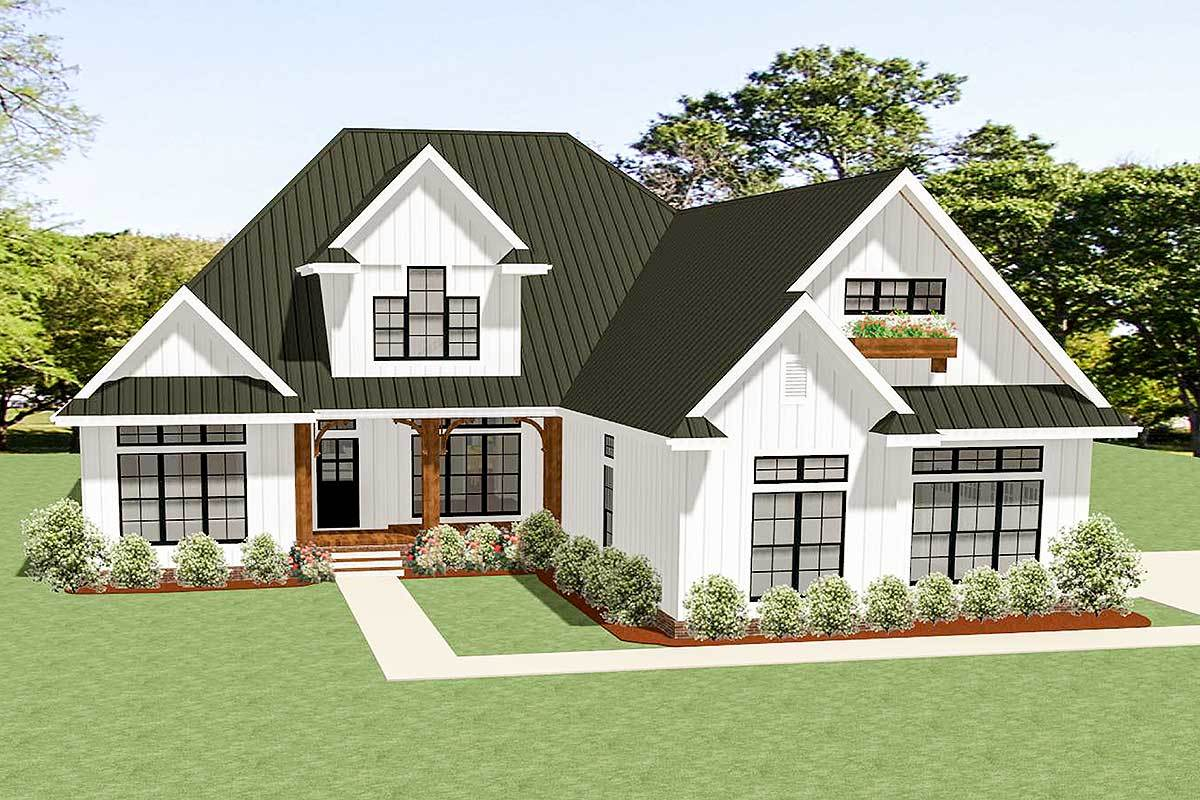 3 bed country craftsman house plan with room to expand for Country craftsman home plans
