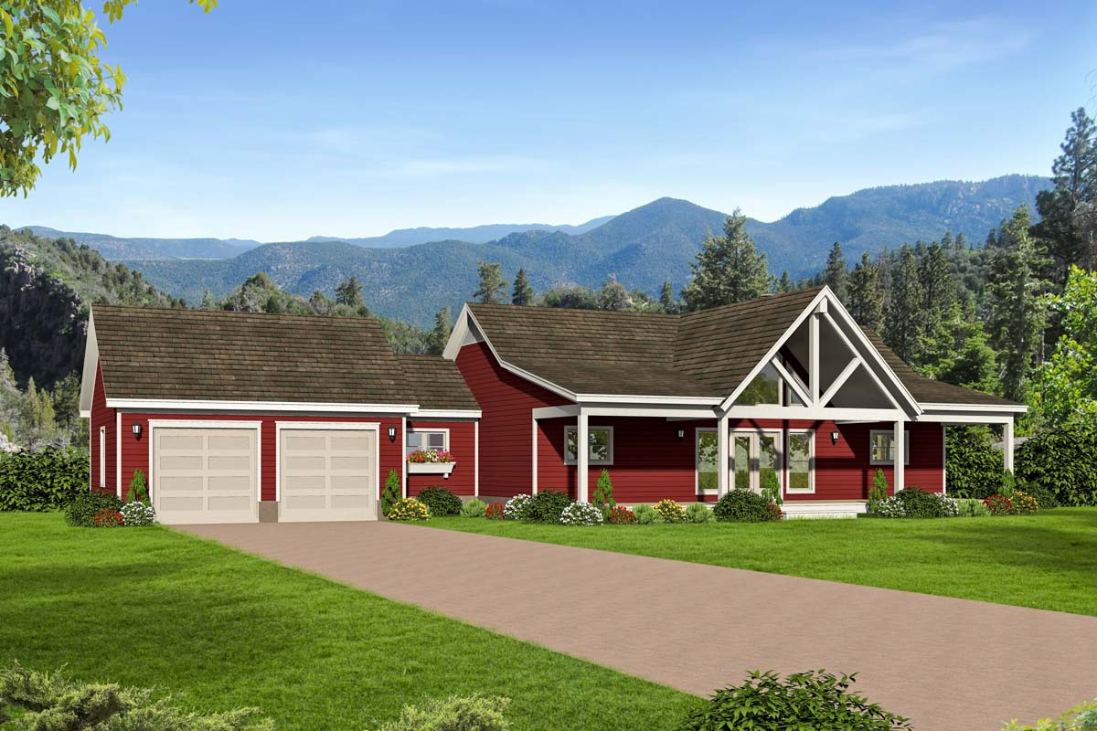 2 bed country ranch home plan with walkout basement for Country home plans with walkout basement