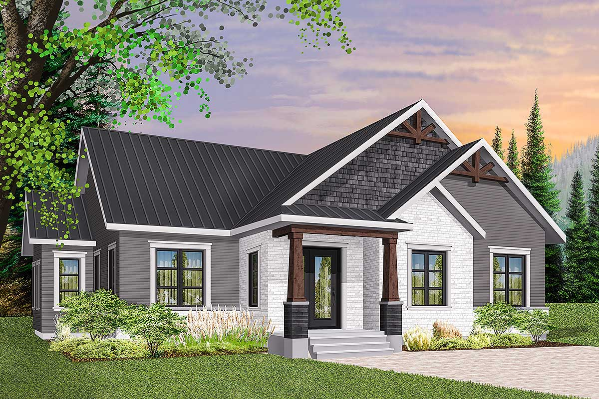 3-Bed Modern Craftsman Ranch Home Plan - 22475DR ...