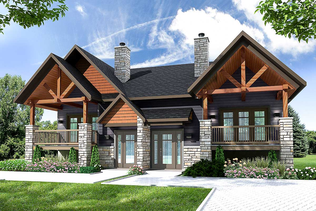 Multi family house plan with outdoor living room 22476dr for Three family house plans
