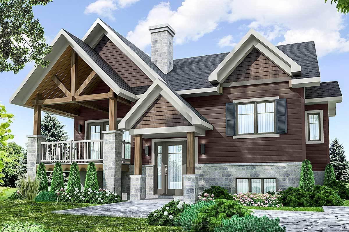 Split Level Craftsman House Plan - 22478DR