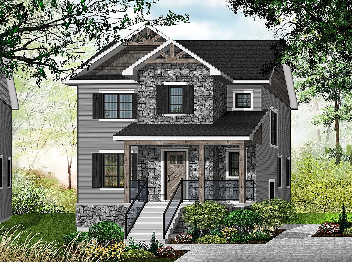 3 bedroom transitional house plan with a small footprint for Transitional house plans