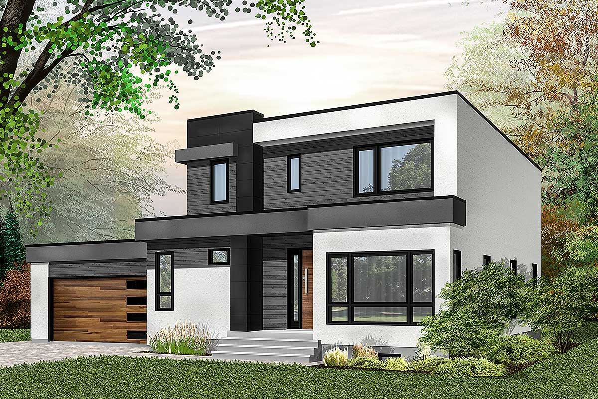 Modern house plan with master up with outdoor balcony for Master up house plans