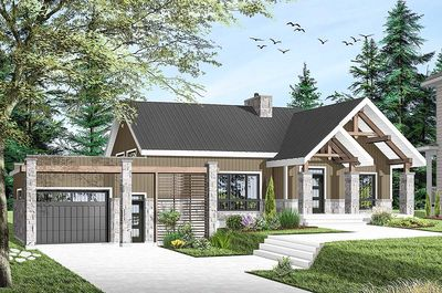 modern ranch house plans. Modern Ranch Home Plan With Vaulted Interior - 22493DR Thumb 03 House Plans O