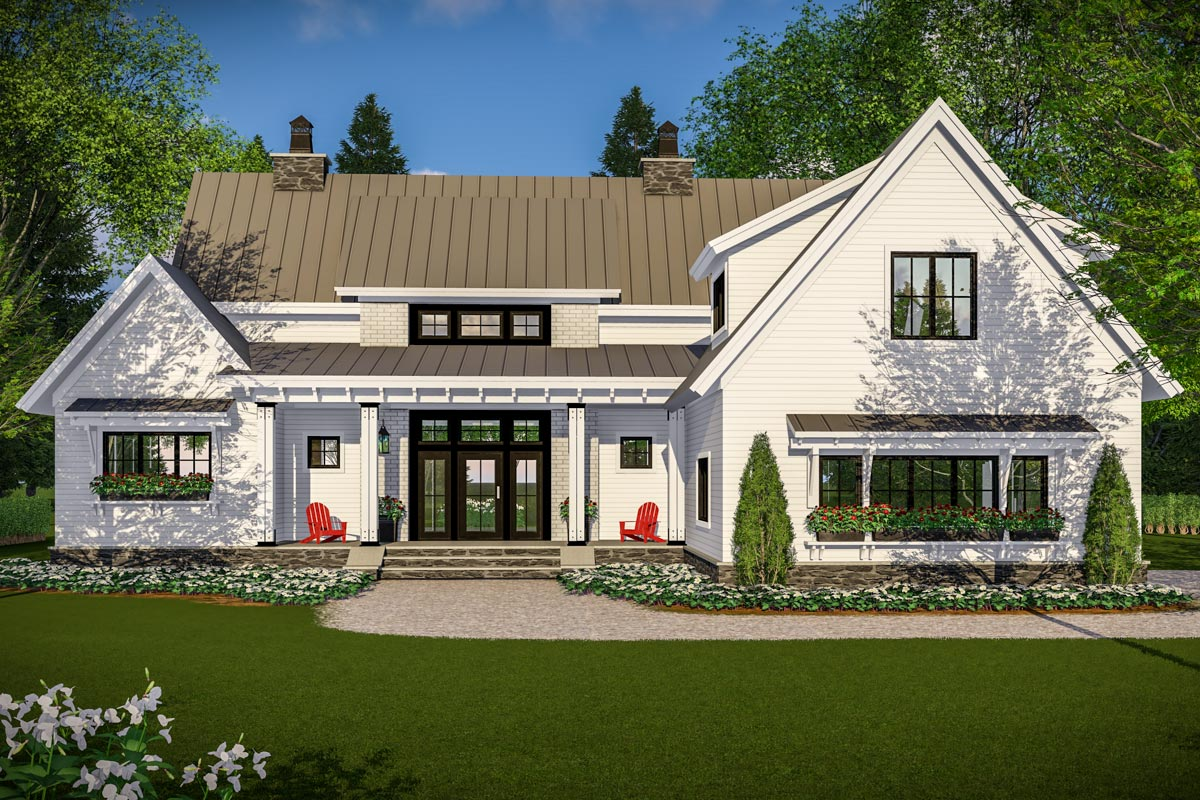 Modern farmhouse with vaulted master suite 14661rk for Farmhouse plans with pictures