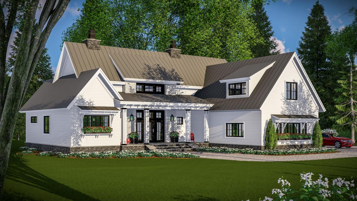 Modern Farmhouse With Vaulted Master Suite 14661rk