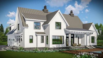 Modern Farmhouse With Vaulted Master Suite   14661RK Thumb   04