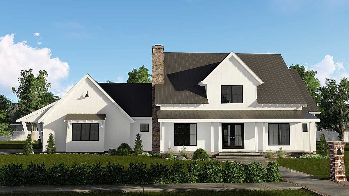 Modern farmhouse plan with 2 car side load garage for 3 car side load garage