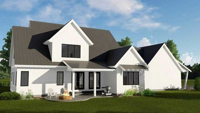 Modern farmhouse plan with 2 car side load garage for 3 car side load garage