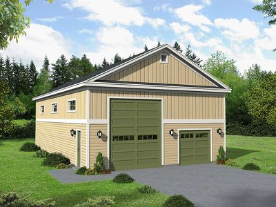 Garage with rv storage 68514vr architectural designs for Rv storage plans