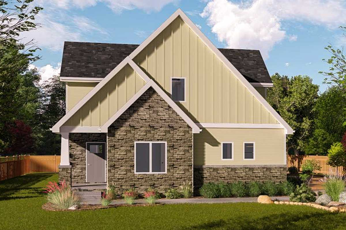 Country craftsman with 2 story cathedral ceiling 62724dj for Country craftsman house plans