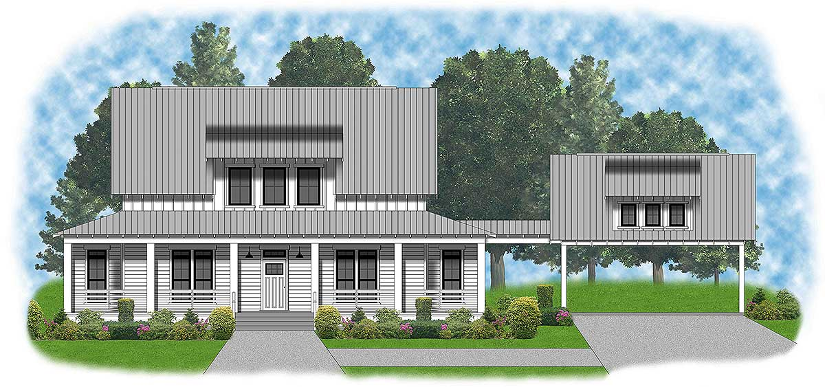 Modern Farmhouse With Shed Dormer And Carport 57601xn Architectural Designs House Plans