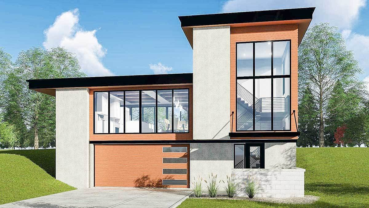 Striking Modern House Plan with Courtyard and Drive-Under ...
