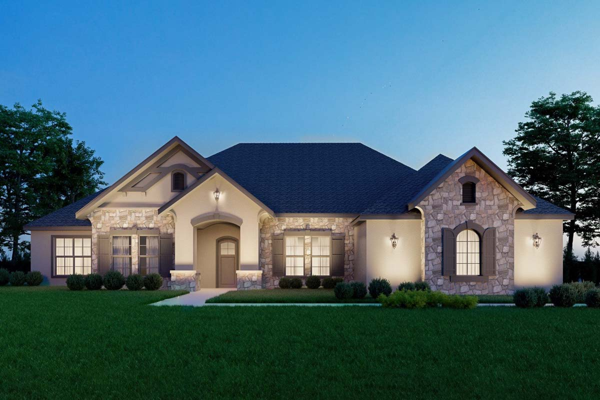 Exclusive Four Bedroom European House Plan