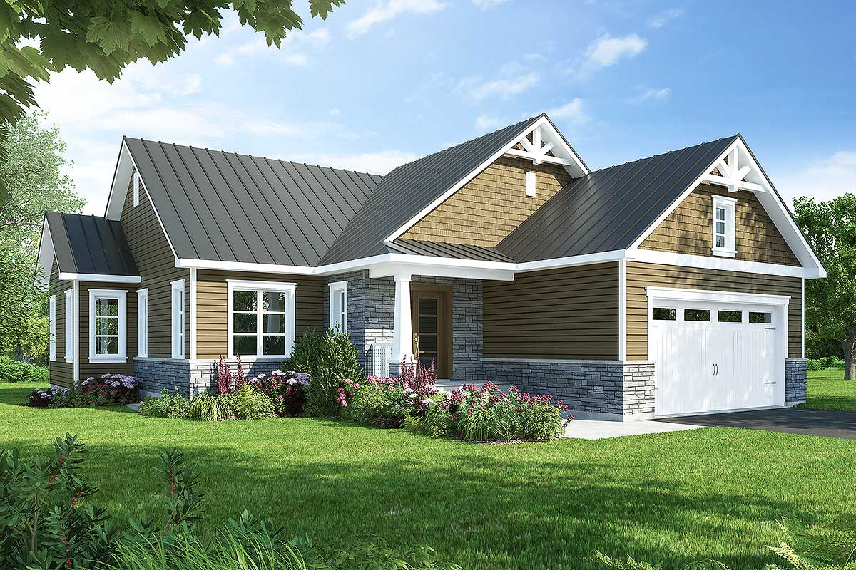 Contemporary 3 bed country ranch home plan 22494dr for Contemporary ranch house plans