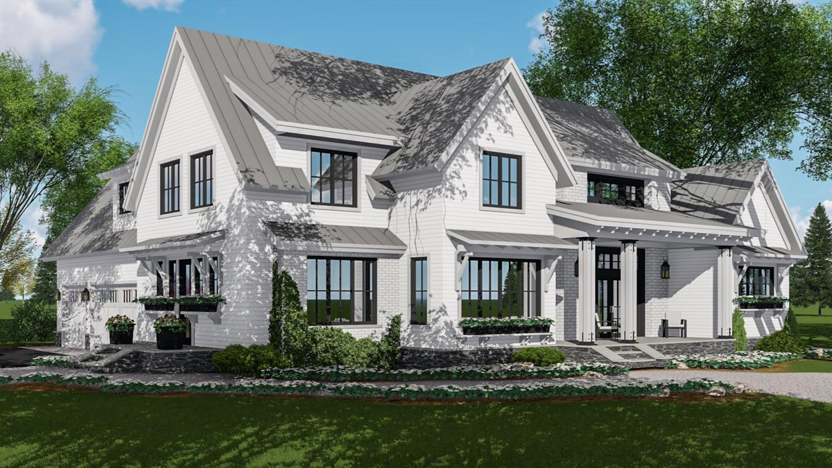 Modern Farmhouse Plan Rich with Features
