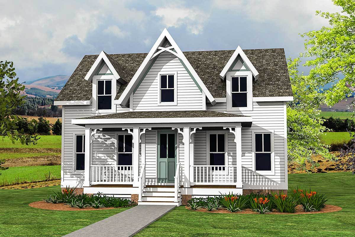 Modern Country Victorian House Plan with Upstairs