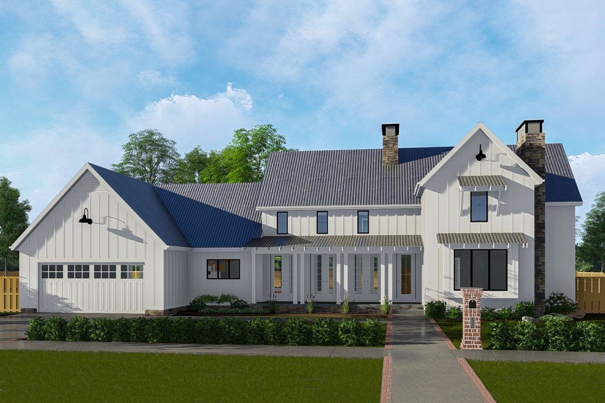 Classic farmhouse with two story great room 62728dj for Two story farmhouse plans
