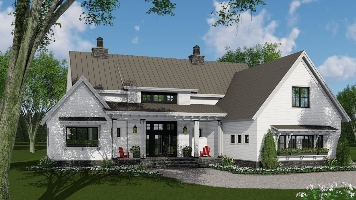 Modern Farmhouse Plan with 3 Beds Down and