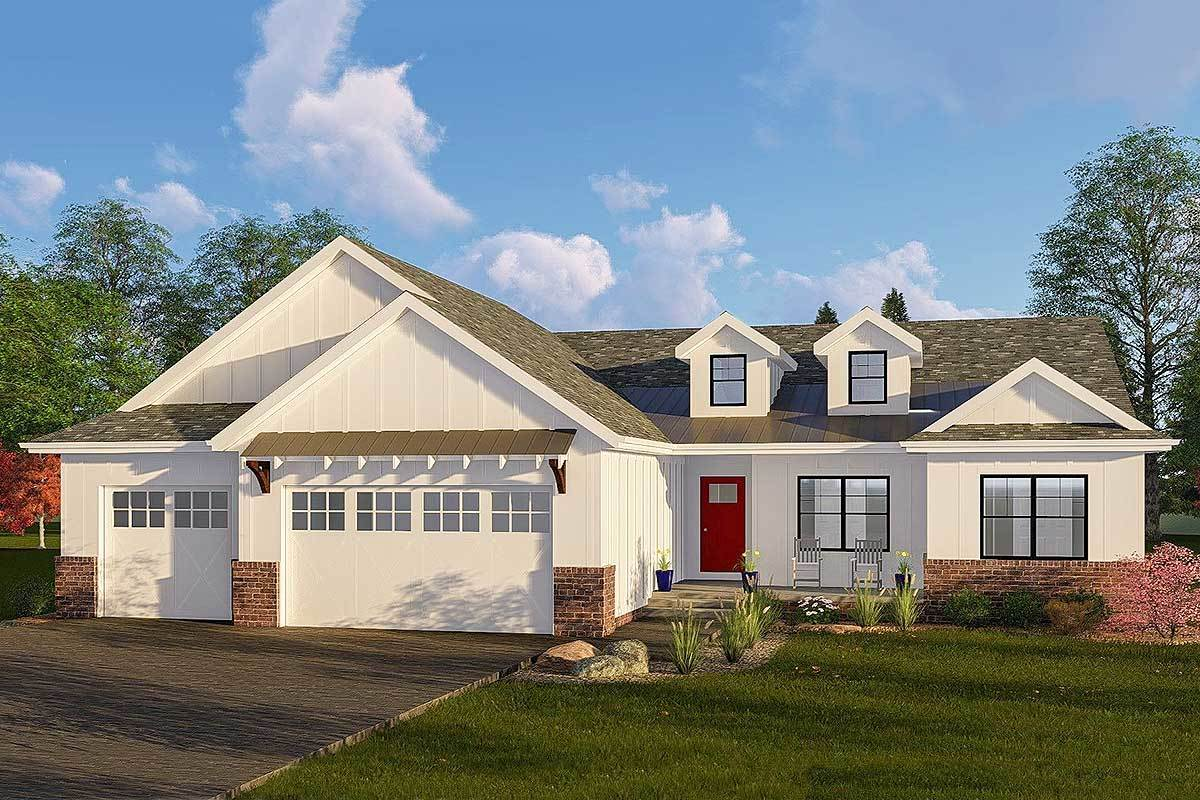 One story modern farmhouse plan with vaulted great room for 2 story modern farmhouse