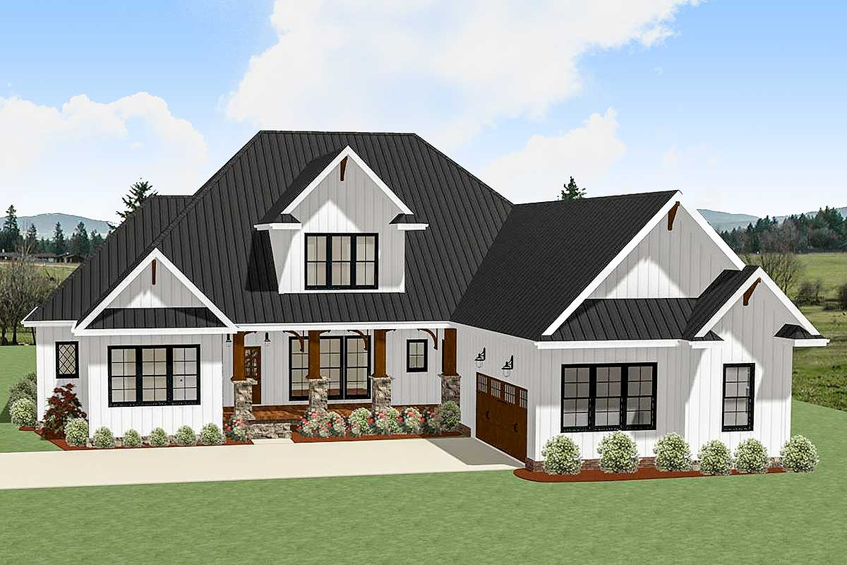 4 bed country craftsman with garage options 46333la for Craftsman house plans 3 car garage