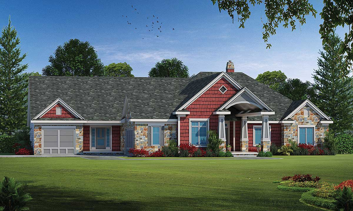 Multi generational ranch home plan 42526db for Multi dwelling house designs
