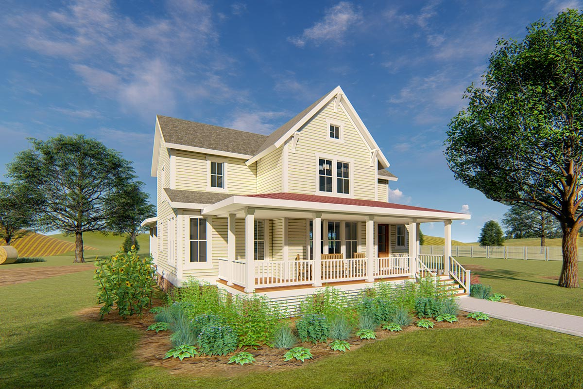 Exclusive Master On Main Farmhouse Cottage Plan 500036VV