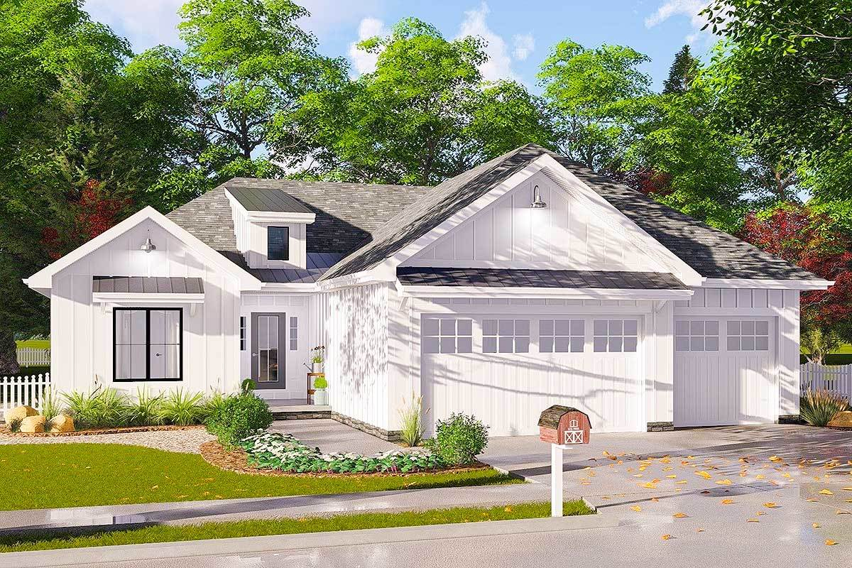 3 bed modern farmhouse ranch home plan 62732dj for Ranch farmhouse floor plans
