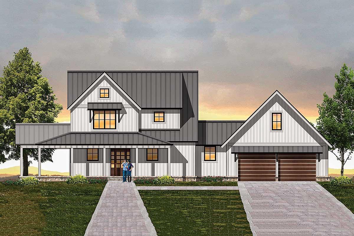 Modern Farmhouse Plan with Semi Detached Garage 18850CK