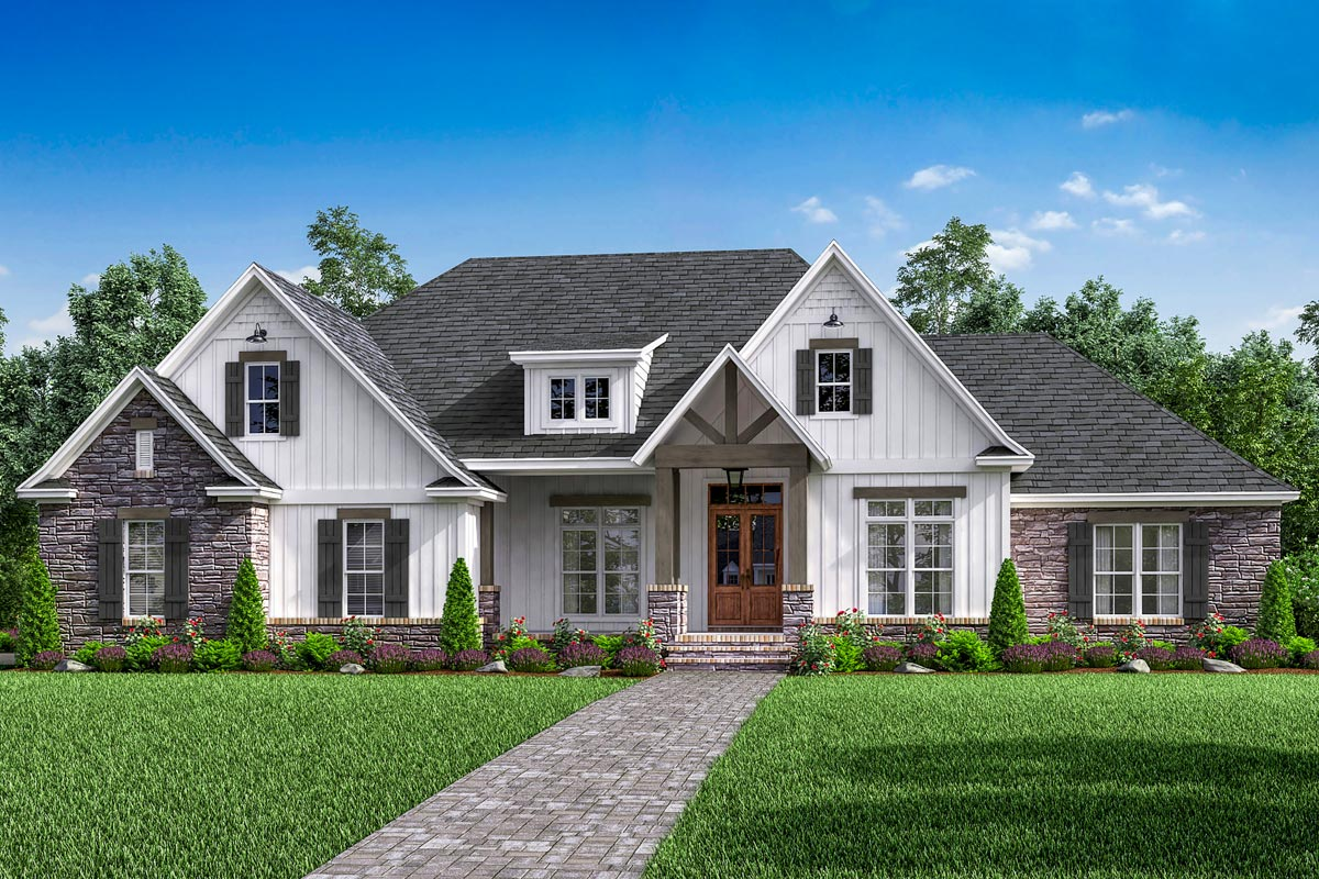 Open concept 4 bed craftsman home plan with bonus over for Open concept craftsman house plans