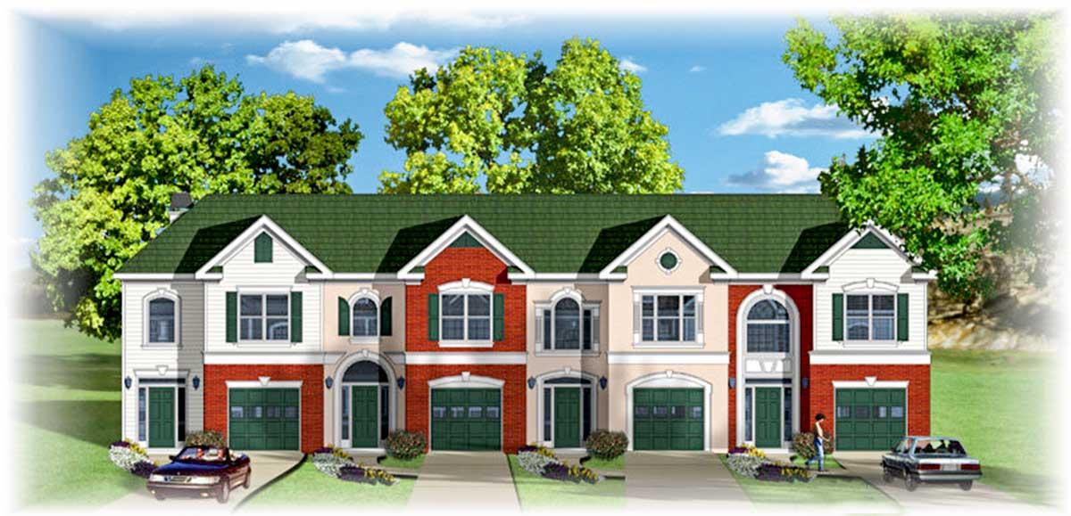 Traditional fourplex multi family house plan 83132dc for Modular fourplex