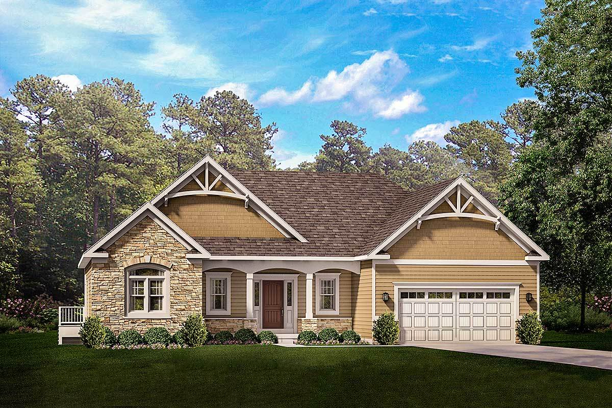Exclusive One Story Craftsman House Plan with Two Master ...
