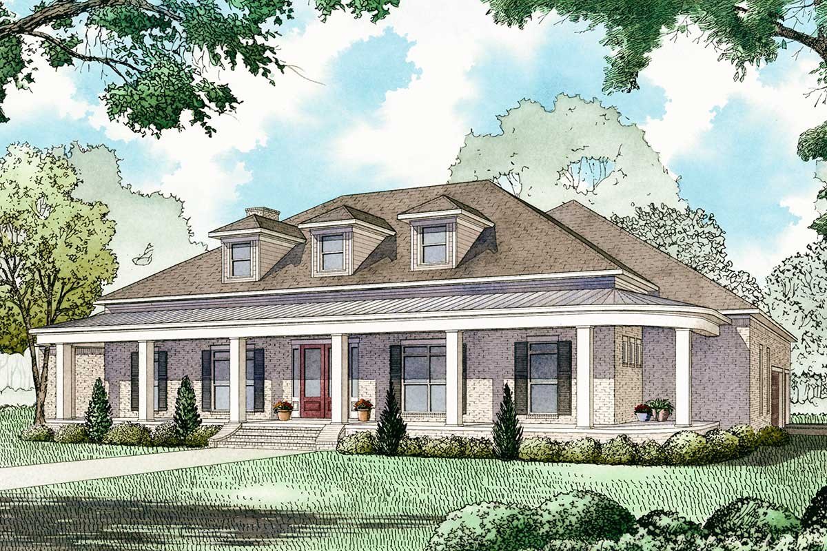 3-Bed House Plan With 8'-Deep Front Porch And Upstairs