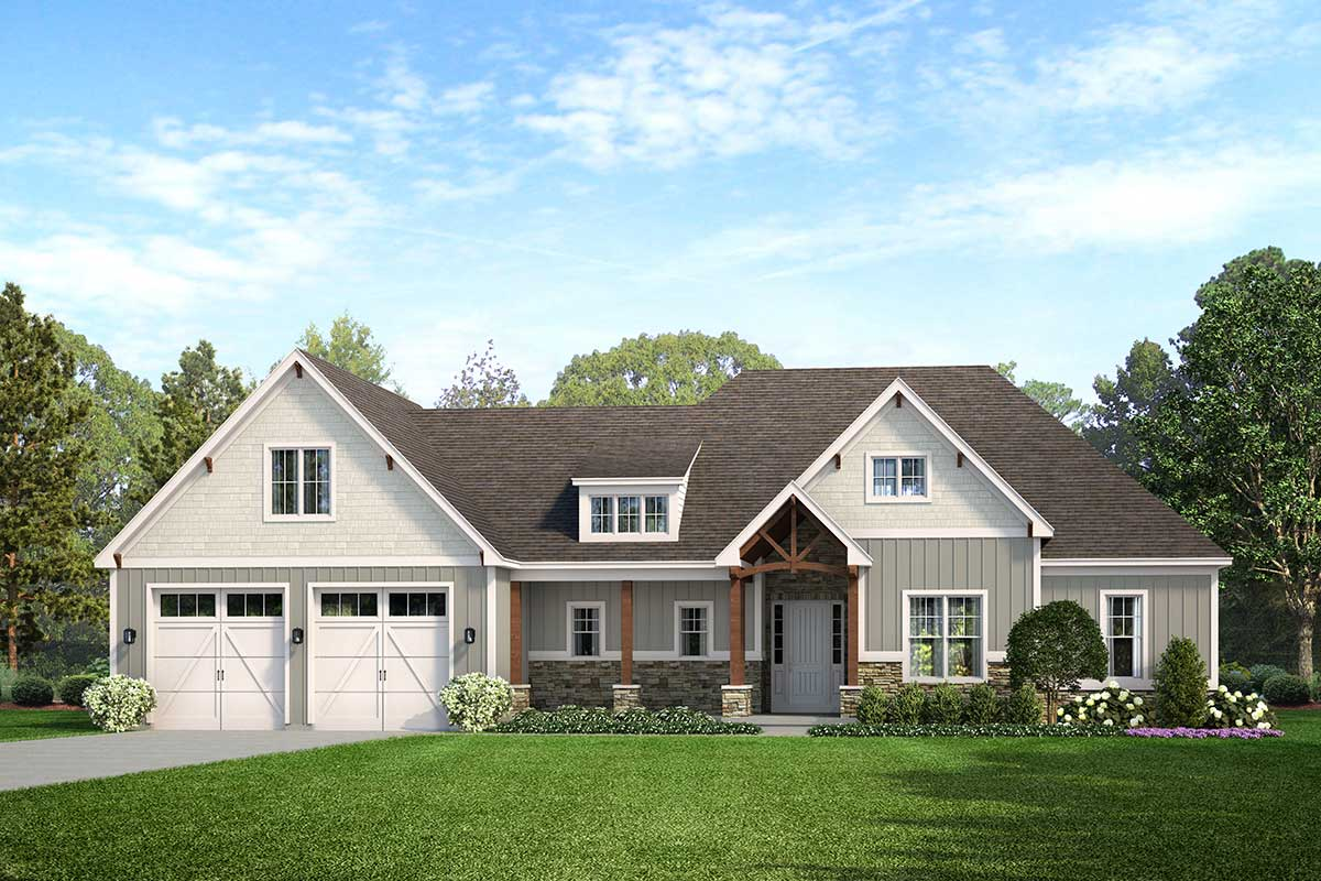 3-Bed Exclusive Craftsman Farmhouse Plan with Outdoor ... on Farmhouse Outdoor Living Space id=14141