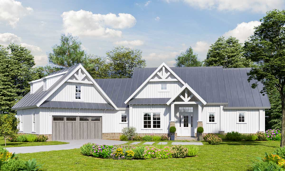 Country Craftsman House Plan With Angled Garage And