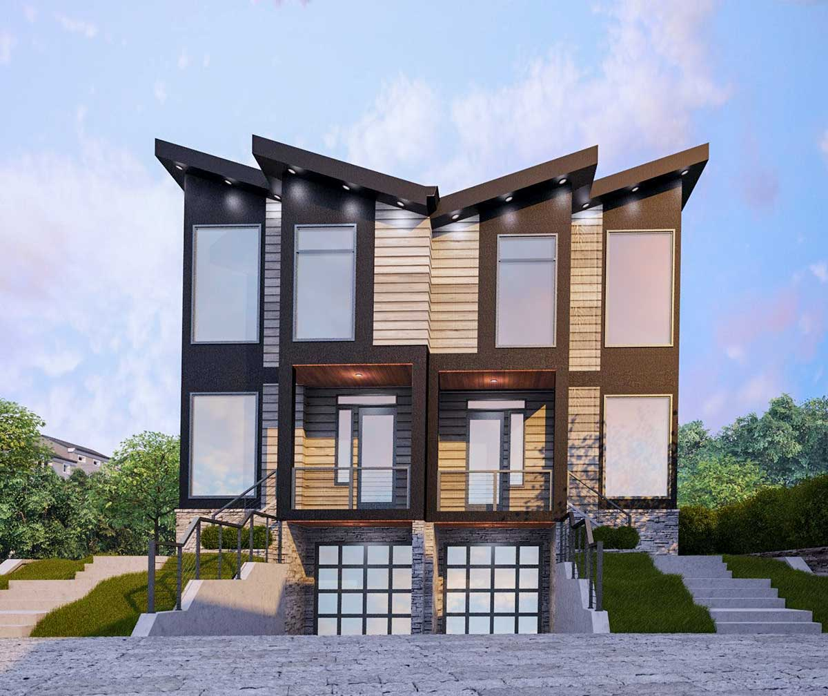 Modern Two-Family House Plan with Matching 3-Bed Units ...