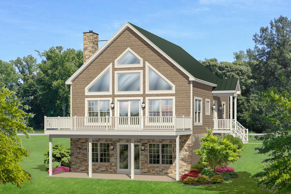 4 bedroom vacation house plan with walk basement for Vacation home plans with walkout basement